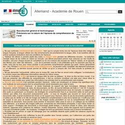 Allemand - Académie de Rouen - Précisions sur la nature de l'épreuve de compréhension de l'oral