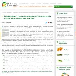 APRIFEL 25/08/15 Préconisation d'un code couleur pour informer sur la qualité nutritionnelle des aliments