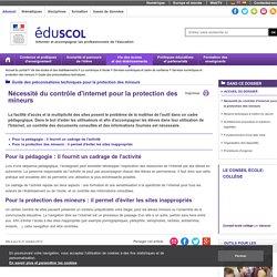 Guide des préconisations techniques - Nécessité du contrôle d'internet pour la protection des mineurs