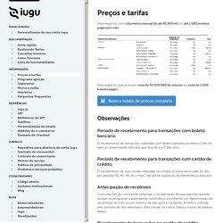 Preços e tarifas - Iugu