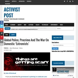 Global Police, Precrime and the War on Domestic 'Extremists'
