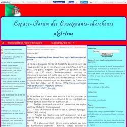 Revues prédatrices: Lisez bien et lisez tout, c'est important et grave ! - Espace-Forum des Enseignants-chercheurs algériens