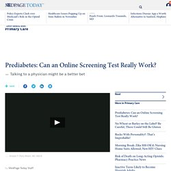 Prediabetes: Can an Online Screening Test Really Work?