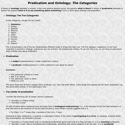 Predication and Ontology: Categories
