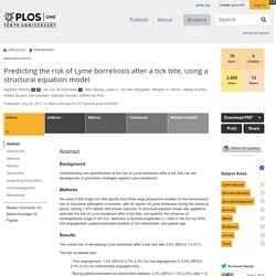 PLOS 24/07/17 Predicting the risk of Lyme borreliosis after a tick bite, using a structural equation model