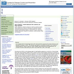 CDC EID JANV 2009 Predicting High Risk for Human Hantavirus Infections, Sweden