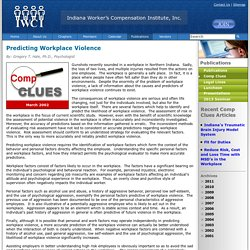 Comp Clues: Predicting Workplace Violence