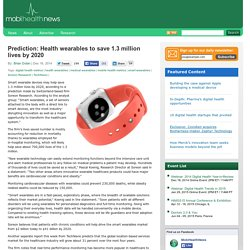 Prediction: Health wearables to save 1.3 million lives by 2020
