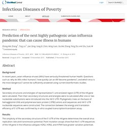 Infectious Diseases of Poverty (2015) 4:50 Prediction of the next highly pathogenic avian influenza pandemic that can cause illness in humans