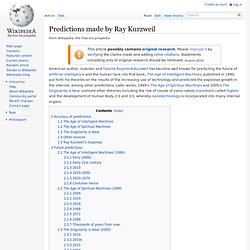 Predictions made by Ray Kurzweil