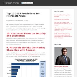 Top 10 2015 Predictions for Microsoft Azure