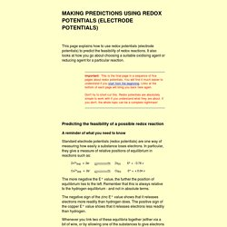 making predictions using redox (electrode) potentials