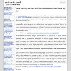 Smart Parking Market Predictions Exhibit Massive Growth by 2021 - Automotive and Transportation