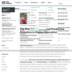 The Promise and Peril of Predictive Analytics in Higher Education