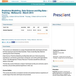 Predictive Modelling, Data Science and Big Data -... Tickets, Melbourne