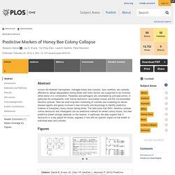 PLOS 23/02/12 Predictive Markers of Honey Bee Colony Collapse