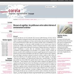 Discours et cognition: les prédiscours entre cadres internes et environnement extérieur