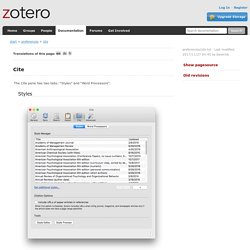 preferences:cite [Zotero Documentation]