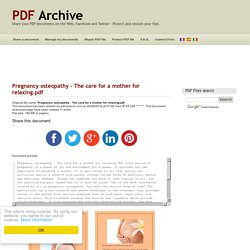 Pregnancy osteopathy - The care for a mother for relaxing .pdf - PDF Archive