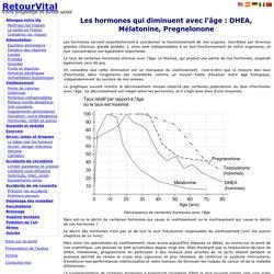 Hormones anti age : DHEA, Mélatonine, Pregnelonone : prévention vieillissement