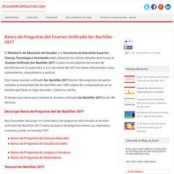 Banco de Preguntas SER BACHILLER 2017 Respuestas INEVAL