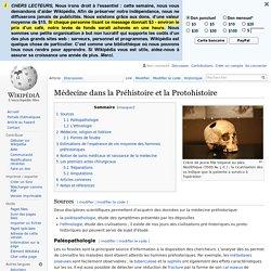 Médecine dans la Préhistoire et la Protohistoire