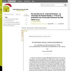 Du nouveau sur la «Liste de Florence». La chronique du Pseudo-Godel (v. 1175) et la préhistoire du Provinciale Romanum du XIIIe siècle