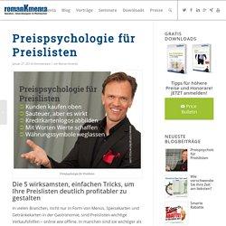 Preispsychologie für Preislisten - Roman Kmenta Experte für Preispsychologie