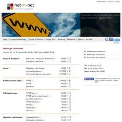 Webdesign Preisrechner - Internetagentur net-n-net