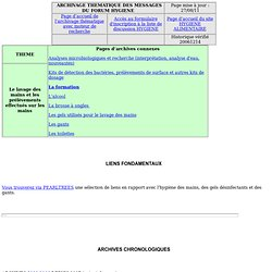 Archives de la liste HYGIENE - Le lavage des mains et les prélèvements effectués sur les mains