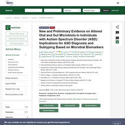 New and Preliminary Evidence on Altered Oral and Gut Microbiota in Individuals with Autism Spectrum Disorder (ASD): Implications for ASD Diagnosis and Subtyping Based on Microbial Biomarkers