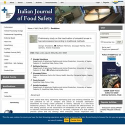ITALIAN JOURNAL OF FOOD SAFETY - 2017 - Preliminary study on the inactivation of anisakid larvae in baccalà prepared according to traditional methods