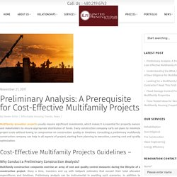 Preliminary Analysis: A Prerequisite for Cost-Effective Multifamily Projects