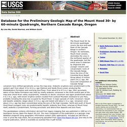 USGS Data Series 906: Database for the preliminary geologic map of the Mount Hood 30- by 60-minutes quadrangle, northern Cascade Range, Oregon
