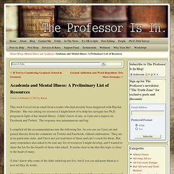 Academia and Mental Illness: A Preliminary List of Resources