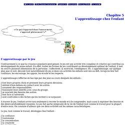 Prématernelle - Programme d'études - Écoles fransaskoises - Chapitre 5 - L'apprentissage chez l'enfant