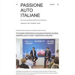 """FCA Bank premiata ai Milano Finanza Global Awards 2019 come """"Creatori di valore"""""""