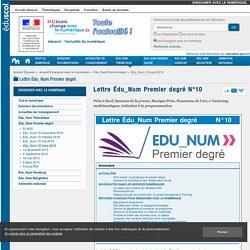 Lettre Édu_Num Premier degré N°10 — Enseigner avec le numérique
