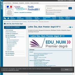 Lettre Édu_Num Premier degré N°11 — Enseigner avec le numérique