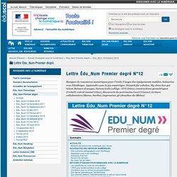 Lettre Édu_Num Premier degré N°12 — Enseigner avec le numérique