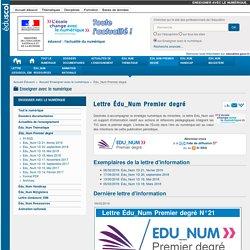 Lettre Édu_Num Premier degré — Enseigner avec le numérique
