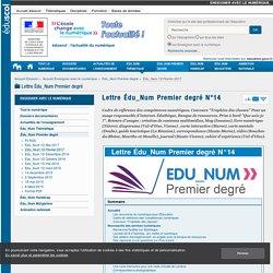 Lettre Édu_Num Premier degré N°14 — Enseigner avec le numérique