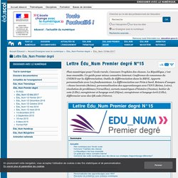 Lettre Édu_Num Premier degré N°15 — Enseigner avec le numérique