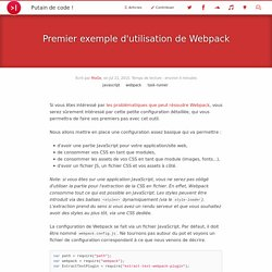 Premier exemple d'utilisation de Webpack