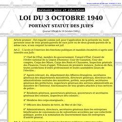 Le premier statut des Juifs (Octobre 1940)