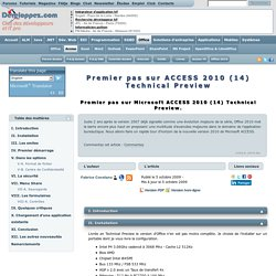 Premier pas sur ACCESS 2010 (14) Technical Preview