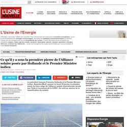Ce qu'il y a sous la première pierre de l'Alliance solaire posée par Hollande et le Premier Ministre indien - L'Usine de l'Energie