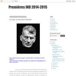 Premières IND 2014-2015: Corrigé commentaire Beckett