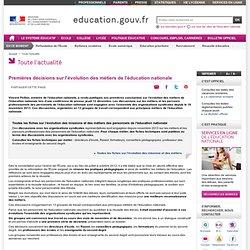 Premières décisions sur l'évolution des métiers de l'éducation nationale