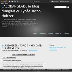 PREMIERES - TOPIC 2 - KEY DATES AND EVENTS - JACOBANGLAIS, le blog d'anglais du Lycée Jacob Holtzer